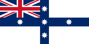 British White Ensign modified with blue cross and white stars of the southern cross (1835)