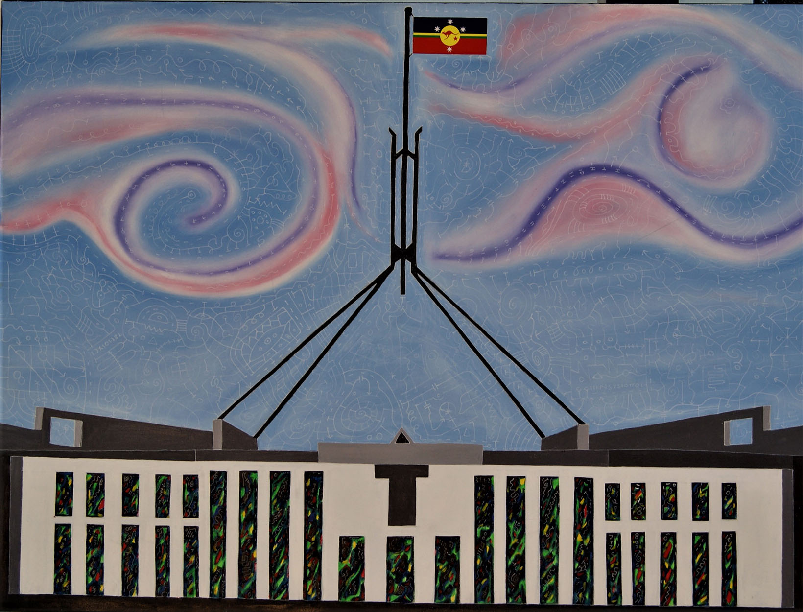 Flag on Parliament house 2017